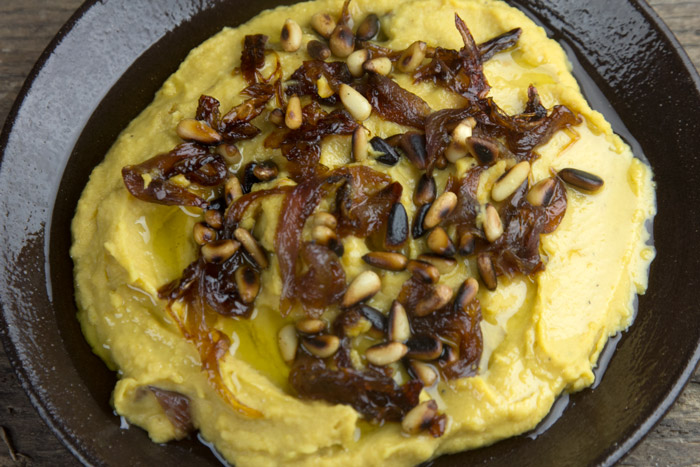 Greek FAVA dip with caramelised onions and toasted pine nuts