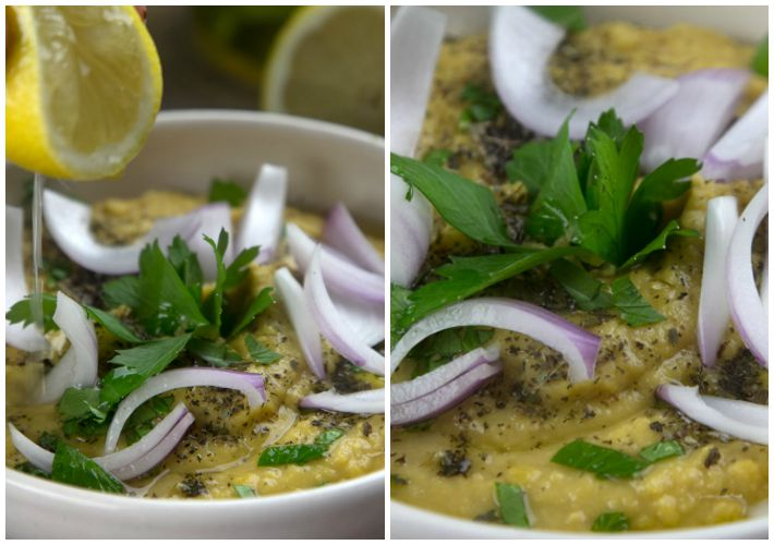 Traditional Fava dip with onions, oregano and lemon