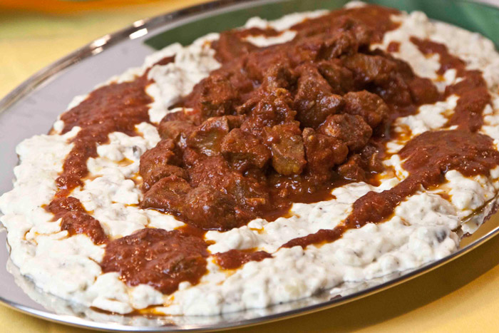 Hunkar Beyendi beef in tomato sauce with smoky aubergine puree