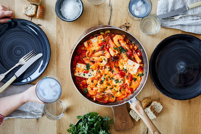 shrimp saganaki with ouzo and feta