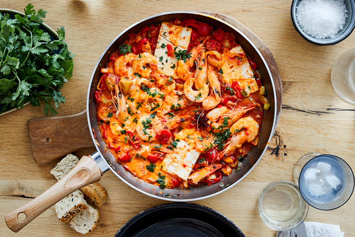 shrimps saganaki with feta and ouzo