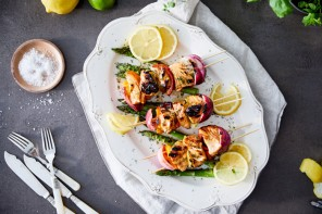 Grilled salmon kebabs glazed in lemon and mustard