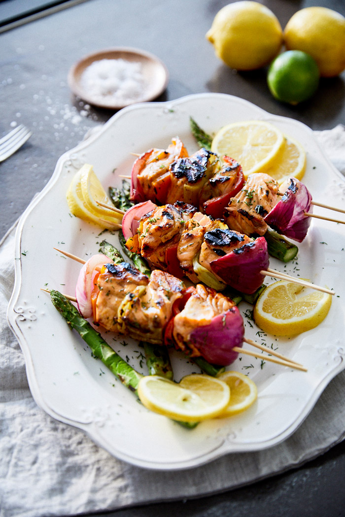 Grilled Salmon Kebabs with Lemon & Mustard Glaze