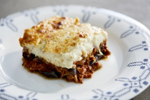 Moussaka al Caruso with smoked aubergine and beef ragù